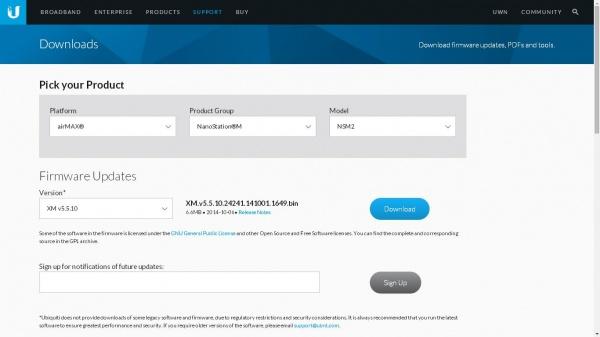 Процес прошивки точки доступу NanoStation M5 Ubiquiti та